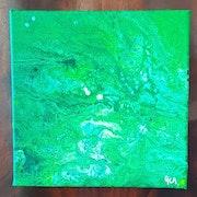 Tableau pouring acrylique liquide abstrait (154) signé acr.