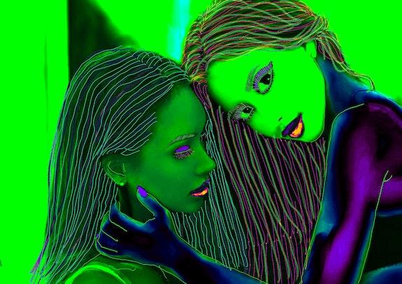 Deux copines posant de côté. Jean Jacques Copetta Jean-Jacques Copetta