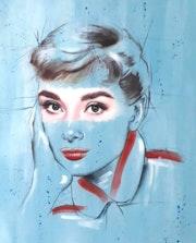 Audrey - acrílicos sobre lienzo - retrato. Simona Zecca