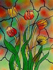 Tulips in window. George Hutton Hunter