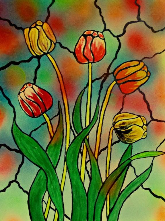 Tulips in window. George Hutton Hunter George Hutton Hunter