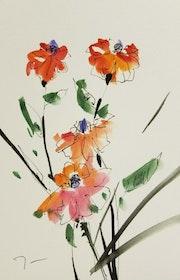 Jose trujillo Botanical - Art Aquarelle Peinture Traditionnelle Fleurs Rouges.
