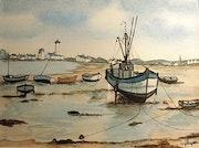 Bateaux échoués en Bretagne.