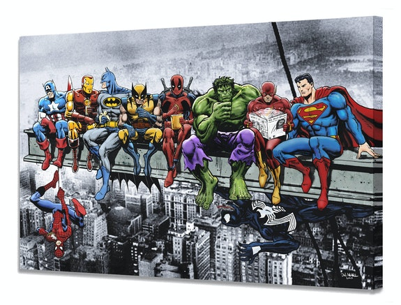 Marvel and dc Superheroes Lunch Atop a Skyscraper - Mounted Canvas. Dan Avenell Dan Avenell