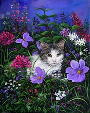 Cat Among the Flowers Acrylic Painting on Canvas.