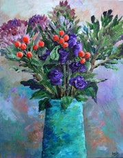Bouquet of Flowers in Turquoise Vase Acrylic Painting on Canvas.