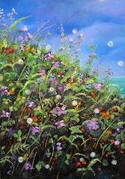 Wild Flowers Oil on Painting on Wood Panel.