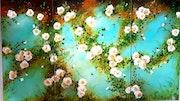 Tryptique de roses façon XIXe. Monique Martin