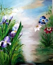 Iris d'eau et anémones.