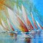 «Rainbow»; Voiliers filant sur l'eau dans une ambiance colorée. Sophie Duplain