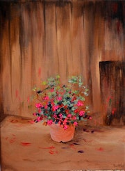 A Flower Pot Acrylic Painting on Canvas.