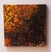 Tableau pouring acrylique liquide abstrait – 20 cm X 20 (157) acr.