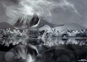 Paysage imaginaire en noir et blanc.