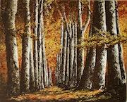 Paseo de árboles en otoño.