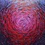 Toile au couteau : Éclat de lueur rouge violette iridescente.. Jonathan Pradillon