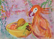 The Parrot and The Bowl of Fruit.