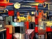 La luna llena sobre ciudad colorida. Serie : Paisajes interiores.. Albruno