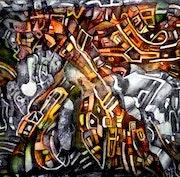 Representacion del actual caos y actividad egocentrica de la conciencia humana.. Albruno