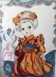 Aquarelle originale signée « la petite japonaise ».