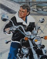 Johnny Hallyday sur la moto.