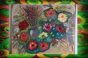 Fleurs sur palettes.