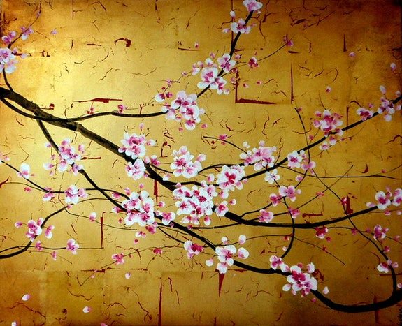 «Ad et Le Cerisier»; Branche de cerisier du Japon. Sophie Duplain Sophie Duplain