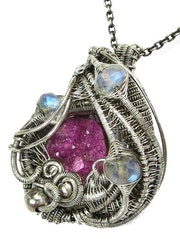 Cobaltoan Calcite Druzy & Sterling Silver Pendant with Rainbow Moonstone in ss. Heather Jordan Jewelry