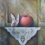 Still life with apple and swan. Eda Z. Tényi