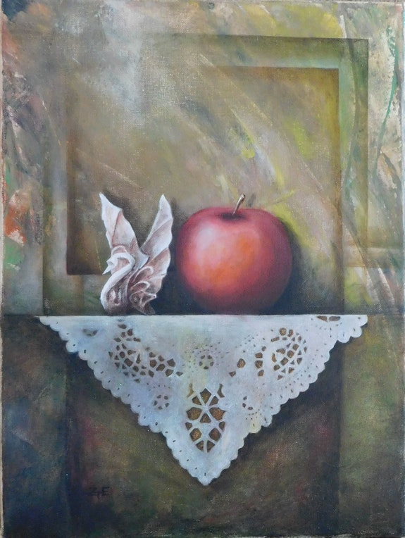 Still life with apple and swan. Edith Z. Tenji Eda Z. Tényi