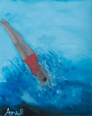 Diver hits the water. Ane Howard Fine Art Gallery