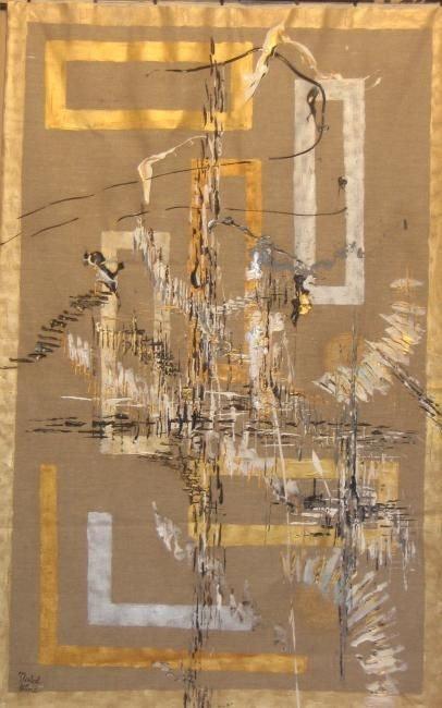 Tapisserie Renaissance «Lin & Or»-210x130 cms- peinture acrylique. Nathalie Nadal-Olivié (Cotation I-Cac) Peintre Abstrait Contemporain