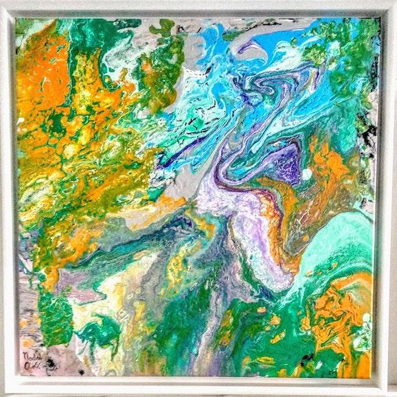 Oeuvre «pulp»- 50x50 cms -. Nadal Olivie Nathalie (Coté I-Cac) Peintre Abstrait Contemporain