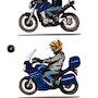 La vie du motard Caricature. P Fort
