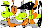 2020-060, Whale Fun, digitale Zeichnung, Druck auf Forex Platte, 66 X 96 cm.