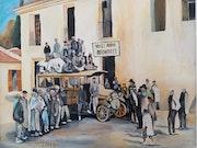 Transport de voyageur en 1922 peinture a l'huile sur toile.