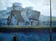 109-Guggenheim (Bilbao), acrílico sobre tela 60x100 3d cm. Crosa