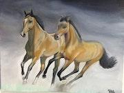 Pintura al óleo - Caballos. Ismael