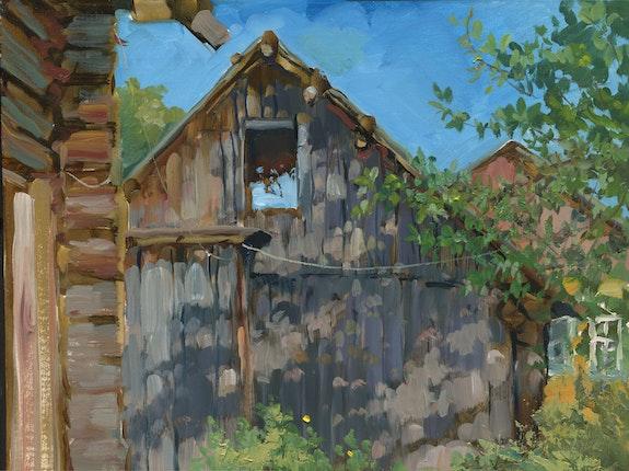 Summer shed in the village. Solomina Elena Elena Solomina
