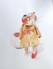 Minette joue la coquette, aquarelle.