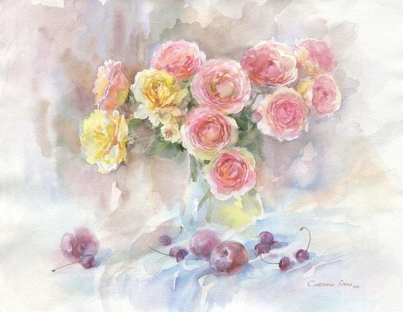Garden roses and plums. Solomina Elena Elena Solomina