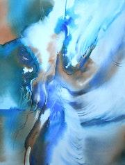 Aquarelle abstraite «Colère des Caraïbes».
