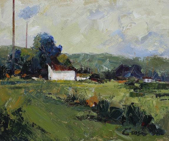 24-Casa Blanca, acrílico sobre lienzo pegado a tabla 40x48 cm.. Crosa