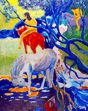 D'aprés Le Cheval Blanc (oeuvre magistrale de Gauguin). Rey
