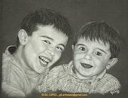 Enfance, les 2 frères. Artiste Auteur