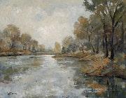 99-Rio Segre en invierno, acrílico sobre lienzo 73x92 cm..