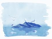 Four Seagulls at Dawn - digital ink.