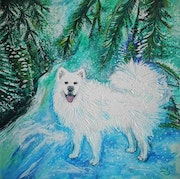 Dog painting, Samoyed, winter landscape. Likart