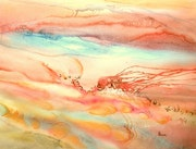 Abstract watercolor painting «Fire path».