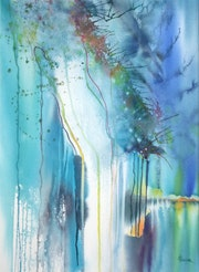 Original Painting-Abstraction-Watercolor «Cenote».