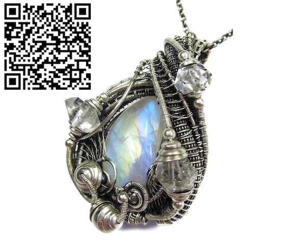 Rainbow Moonstone Wire-Wrapped Pendant with Herkimer Diamonds. Heather Jordan Heather Jordan Jewelry